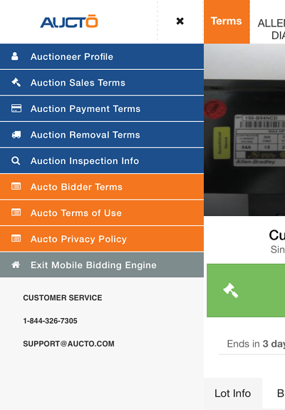 Auction Terms On Mobile Bidding Engine